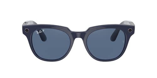 Ray-Ban Stories| Meteor Square Smart Glasses, Shiny Blue/Dark Blue Polarized, 51mm