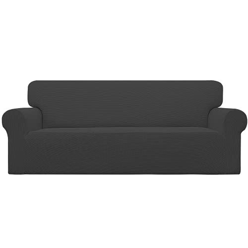 Easy-Going Stretch Sofa Slipcover 1-Piece Couch Sofa Cover Furniture Protector Soft with Elastic Bottom for Kids, Spandex Jacquard Fabric Small Checks(Sofa,Dark Gray)