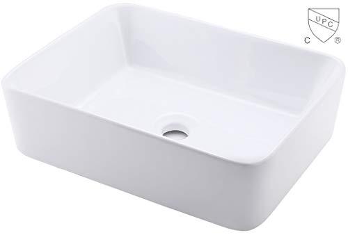 KES Bathroom Vessel Sink 19-Inch White Rectangle Above Counter Countertop Porcelain Ceramic Bowl Vanity Sink cUPC Certified, BVS110