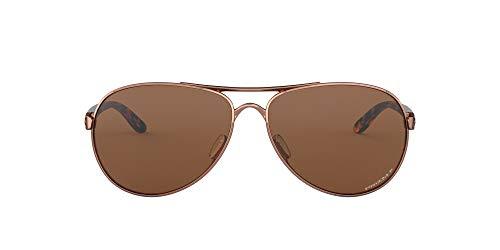 Oakley Women's OO4079 Feedback Metal Aviator Sunglasses, Rose Gold/Prizm Tungsten Polarized, 59 mm