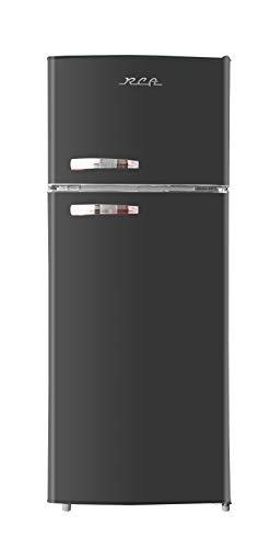 RCA RFR786-BLACK 2 Door Apartment Size Refrigerator with Freezer, 7.5 cu. ft, Retro Black