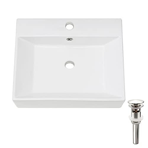 PetusHouse Bathroom Vessel Sink and Pop Up Drain Combo, Rectangle Above Counter White Porcelain Ceramic Bathroom Vessel Vanity Sink Washing Art Basin, Overflow Type