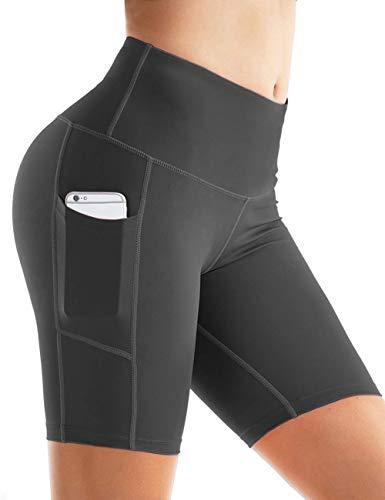 Rocorose Women's Running Shorts Tummy Control 4 Way Stretch Hidden Pocket Workout Yoga Shorts Dark Grey M