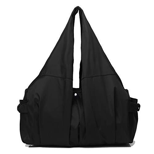 Shoulder Bag for Women, Waterproof Shopping Lightweight Work Purse and Handbag Travel Tote Oxford Nylon Large Capacity Hobo (8022-BLACK)