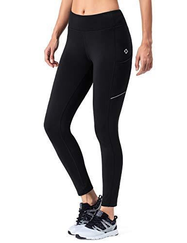 NAVISKIN Women's Fleece Lined Thermal Tights Running Yoga Leggings Winter Outdoor Pants Zip Pocket Black Size L