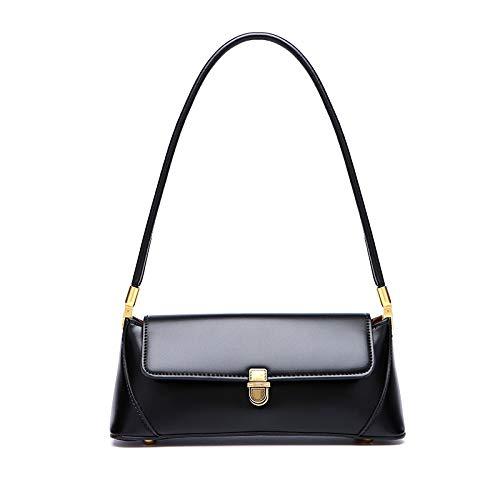 Women Shoulder Bag Vintage Handbag Underarm Bag Retro Purse with Buckle Closure (Black)