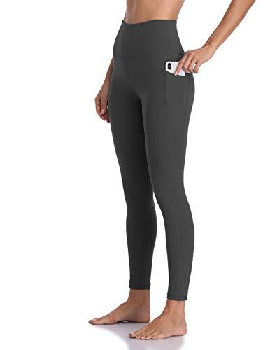 Colorfulkoala Women's High Waisted Yoga Pants 7/8 Length Leggings with Pockets (S, Charcoal Grey)