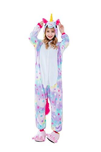 Yutown Adult Unicorn Pajamas Animal Costume Cosplay Onesie Halloween Gift Star Pegasus M