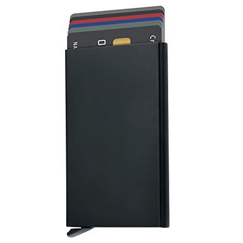 Pop Up Wallet,RFID Blocking Credit Card Holder,Slim MinimalistAluminum Casefor Menand Women (E-black)