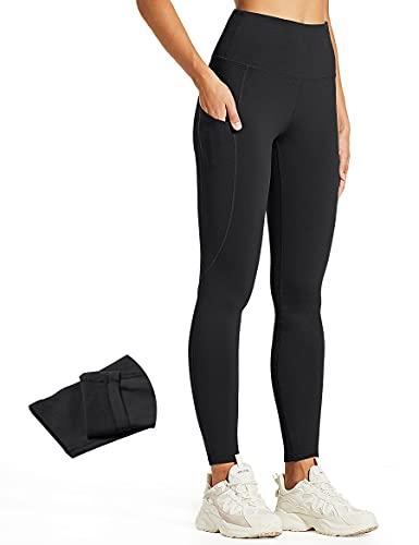 ZUTY Fleece Lined Leggings Women Water Resistant Winter Thermal Warm Insulated Hiking Leggings Pockets Plus Size Black 4XL