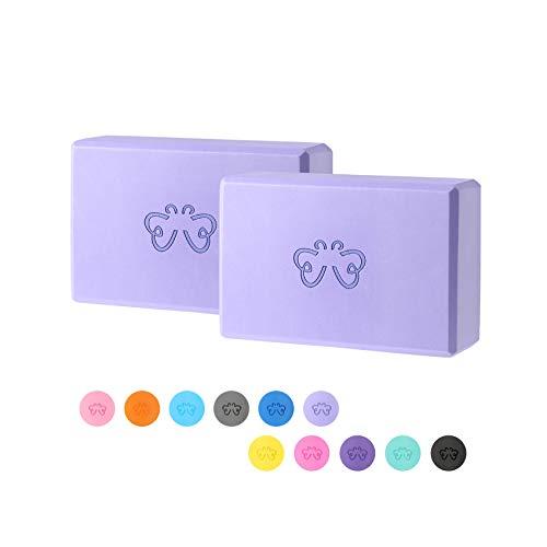 Yoga Block, High Density EVA Foam Yoga Brick for Home or Gym - 2PC (Light Purple)