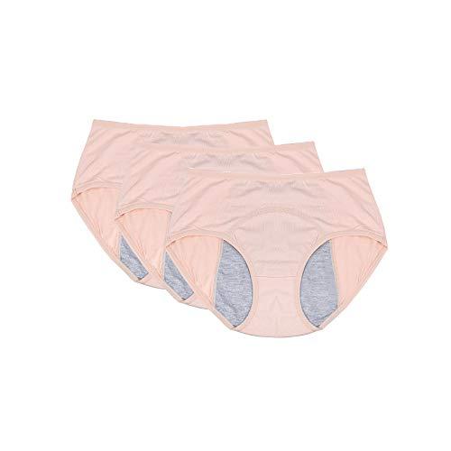 Women Menstrual Period Briefs Leakproof Panties Postpartum Bleeding underwear(pack of 3 (XL, 3SR) Nude