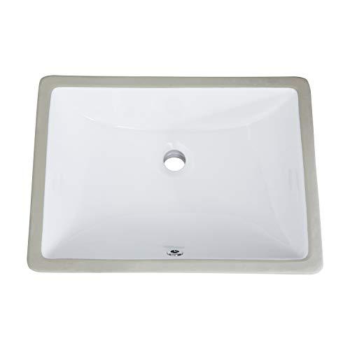 PetusHouse 17x12 Inch Undermount Bathroom Vessel Sink and Pop Up Drain Combo, Rectangle White Ceramic Bathroom Vessel Vanity Sink Washing Art Basin, Overflow Type