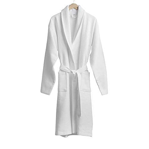 Welhome Waffle Terry Shawl Collar Bathrobe | Large | White | 100% Cotton | Soft Collar | Ultra Absorbent | Side Pockets | Unisex | Machine Washable