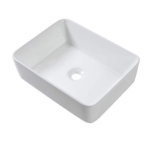 Vessel Sink Rectangular - Sarlai 19'x15' White Bathroom Sink Rectangle Above Counter Porcelain Ceramic Bathroom Vessel Vanity Sink Art Basin