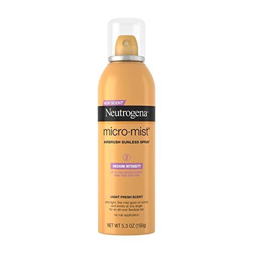 Neutrogena Micromist Airbrush Sunless Tanning Spray, Gradual Sunless Indoor Tanner with Witch Hazel, Oil-Free & Non-Comedogenic Formula, Medium Intensity, 5.3 oz