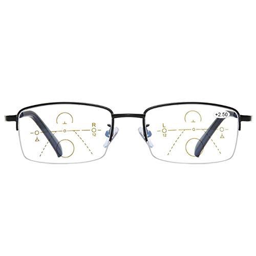 Progressive Multifocal Computer Reading Glasses Blue Light Blocking Titanium Alloy Spring Hinge Readers Eyeglasses Anti Glare Eye Strain Light Weight for Men and Women