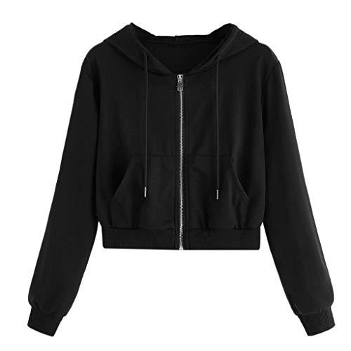 COOKI Crop Hoodies Women's Basic Zip-Up Pullover Hoodies Long Sleeve Cropped Sweatshirts Teen Girls Crop Tops Sweater Shirts Black
