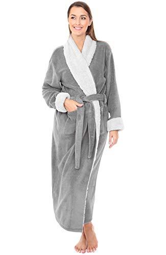 Alexander Del Rossa Women's Warm Fleece Robe, Long Plush Bathrobe, Small Medium Steel Grey with Sherpa Contrast (A0274STLMD)