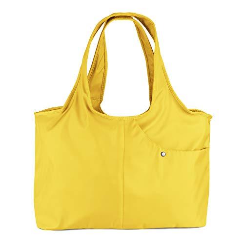 ZOOEASS Women Fashion Large Tote Shoulder Handbag Waterproof Tote Bag Multi-function Nylon Travel Shoulder (Yellow)