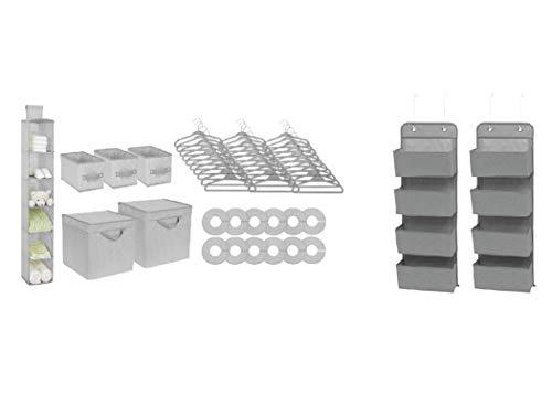 Delta Children 50-Piece Nursery Storage Set (Bundle) - Includes 48-Piece Storage Set and 2 Over the Door Organizers - Keeps Bedroom, Nursery and Closet Clean, Dove Grey