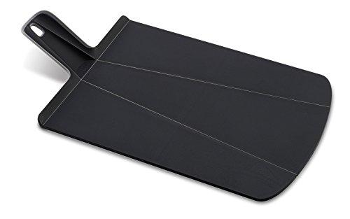 Joseph Joseph NSBL016SW Chop2Pot Foldable Plastic Cutting Board 15-inch x 8.75-inch Chopping Board Kitchen Prep Mat with Non-Slip Feet 4-inch Handle Dishwasher Safe, Small, Black