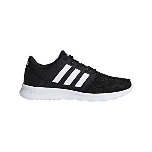 adidas womens Cloudfoam QT Racer Xpressive-Contemporary Cloadfoam Running Sneakers Shoes, black/white/carbon, 8 M US