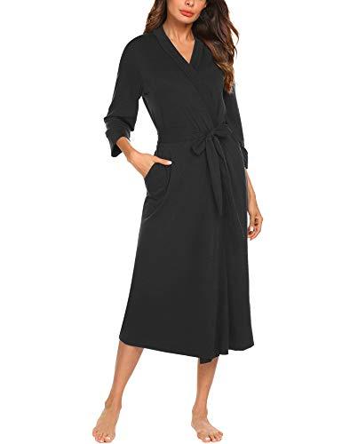MAXMODA Women Kimono Robes Long Knit Bathrobe Cotton Robe Soft Knit Sleepwear V-Neck Casual Ladies Loungewear(Black,XXL)