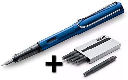 Lamy AL-Star Fountain Pen (28F) Ocean Blue + 5 Black Ink Cartridges (O148150)