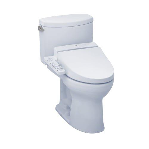 TOTO MW4542034CEFG#01 WASHLET+ Drake II Two-Piece Elongated 1.28 GPF Toilet and WASHLET C100 Bidet Seat, Cotton White
