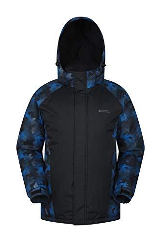 Mountain Warehouse Dusk Mens Ski Jacket - Water Resistant Winter Coat Blue Camo Medium