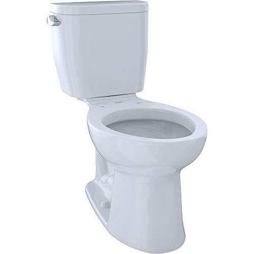 TOTO CST244EF#01 Entrada Two-Piece Elongated 1.28 GPF Universal Height Toilet, Cotton White