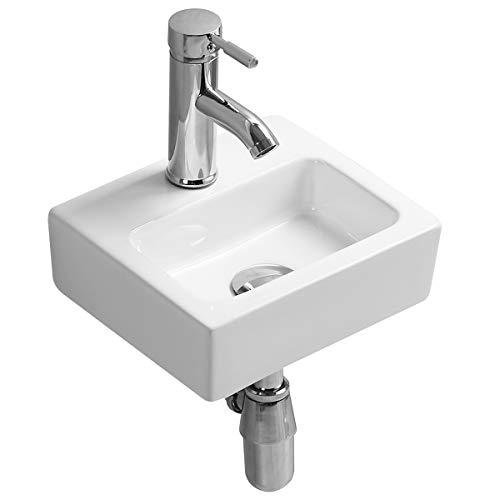 Gimify Bathroom Corner Sink Mini Wall Mount Vessel Sink Ceramic White For Small Bathroom Washroom Modern, Sink Only