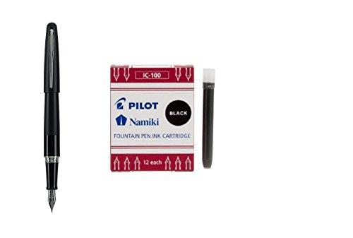 Pilot Metropolitan Collection Fountain Pen, Black Barrel, Classic Design, Medium Nib, Black Ink (91107) + 12 Pack of Ink Refills