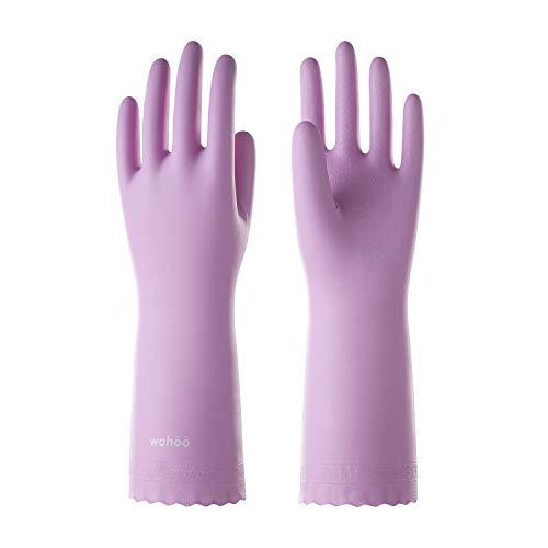LANON Wahoo Series Reusable Cleaning Gloves PVC Dishwashing Gloves, Cotton Flock Liner, Non-Slip Household Gloves for Gardening, Kitchen, Waterproof, Medium, Intertek Listed