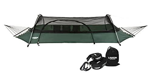 Lawson Hammock Forest Green Hammock & Strap Bundle Blue Ridge Strap Tent Hammock Camping