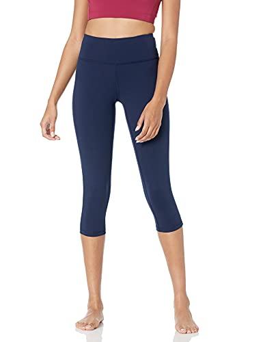 Amazon Essentials Women's Studio Mid-Rise Capri Yoga Legging, Navy, Large
