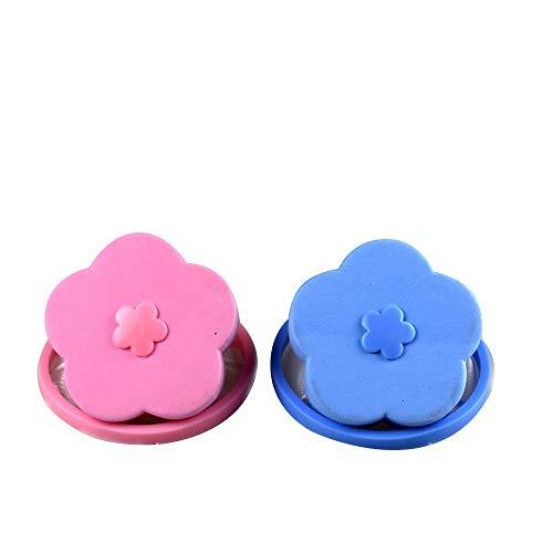 Washing Machine Floating Lint 2 Pcs, Reusable Flower-Type Washing Machine Filter Mesh Bag Hair Filter Net Pouch (Blue + Pink)