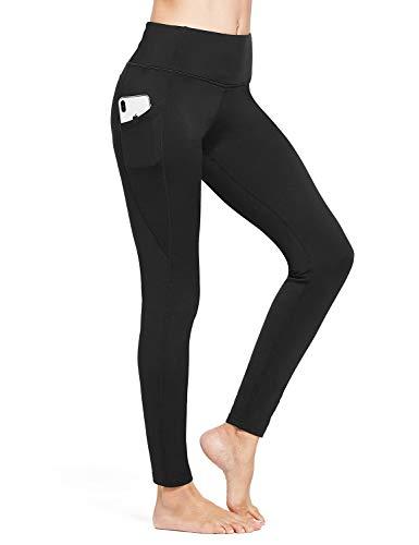 BALEAF Women's Fleece Lined Leggings Winter Yoga Leggings Thermal High Waisted Pocketed Pants Black S