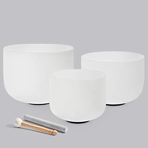 440HZ Sound Healing 8''-12'' Set of 3 Crystal Singing Bowls 8'' A 10'' C 12'' F