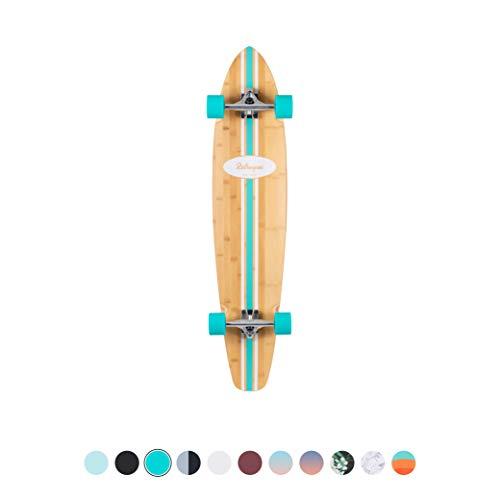Retrospec Zed Bamboo Longboard Skateboard Complete Cruiser, Aqua Pipeline