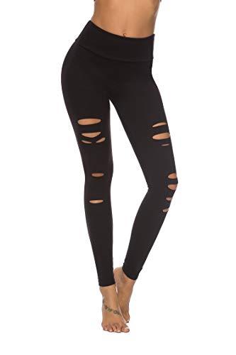 DIBAOLONG Womens High Waist Yoga Pants Cutout Ripped Tummy Control Workout Running Yoga Skinny LeggingsBlack S