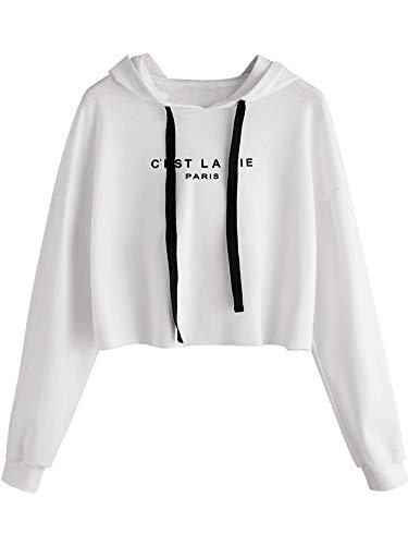 SweatyRocks Women's Letter Print Casual Long Sleeve Crop Top Sweatshirt Hoodies White M