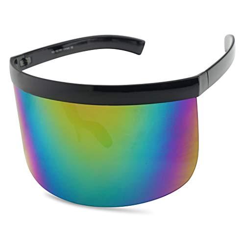 Retro Futuristic Single Shield Color Oversized Visor Sunglasses (Matte Brown, Fire Red Mirror)