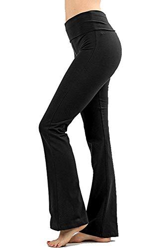 Zenana Premium Cotton FOLD Over Yoga Flare Pants, Black, Medium