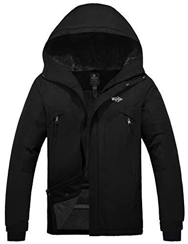 Wantdo Men's Waterproof Winter Snow Jacket Warm Cotton Padded Raincoat Black XL