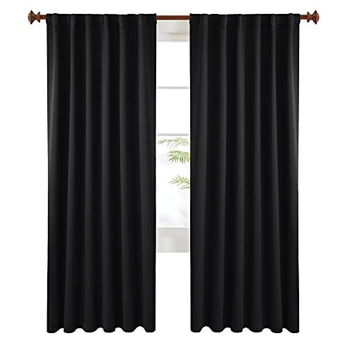 Deconovo Black Blackout Curtains 84 Inch Long, Back Tab and Rod Pocket Blackout Panels - 2 Panels, 52x84 Inch, Blackout Curtains for Living Room, Room Darkening Curtains