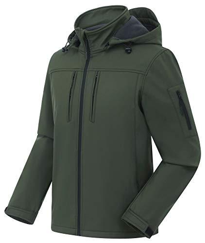 CREATMO US Men's Work Coats Waterproof Hooded Jacket Windproof Thermal Cycling Running Jacket Green L