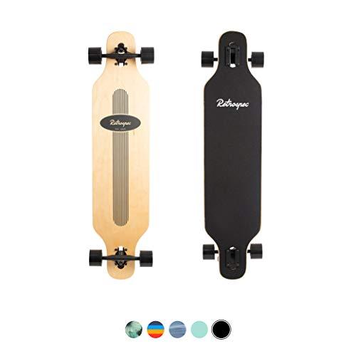 Retrospec Rift Drop-Through Longboard Skateboard Complete, Black Pinstripe, One Size