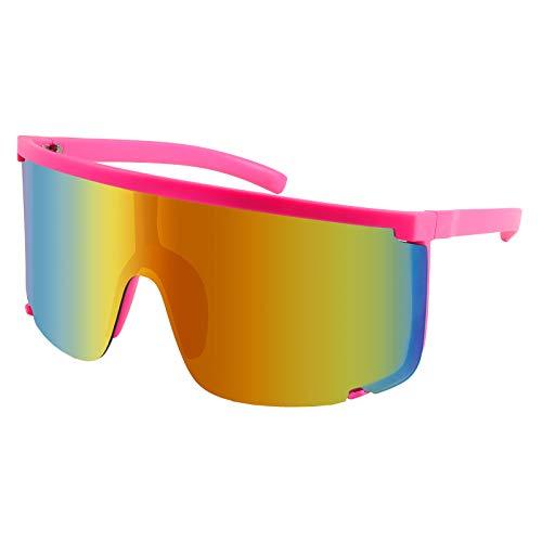 Karsaer Vision Shield Sunglasses Visors for Men Women One Piece Oversized Mirrored Neon Sunglasses Outdoor 80s 90s